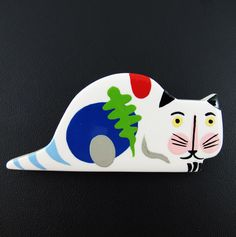 Limited Edition Marie Christine Pavone Hand Painted, Galalith - Decor Cat HARLEQUINMARKET.COM