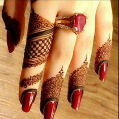 Beautiful finger tips mehndi design. Finger Henna Designs, Henna Art Designs, Mehndi Designs 2018, Stylish Mehndi Designs, Mehndi Designs For Fingers, Wedding Mehndi Designs, Mehndi Design Pictures, Beautiful Mehndi Design, Mehandi Designs
