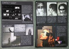 These sketchbook pages are part of the research and planning in an A Level Photography project exploring the theme 'Hidden Identity'. The inclusion of test strips is beneficial (even in digital photography these can be produced, testing different contrast Photography Sketchbook, Photography Journal, Photography Projects, Photography Portfolio, Digital Photography, Photography Series, Photography Backdrops, Abstract Photography, Photography Tutorials