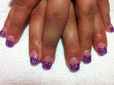 Acrylic nails with purple flitter mylar @Jeanette Winn