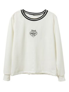White Letter Print Long Sleeve Sweatshirt | Choies