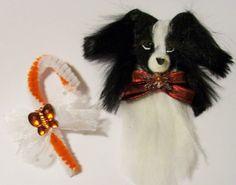 BLACK WHITE DOG CHRISTMAS DECOR ORNAMENT ooaK Papillon Border Collie Candy Cane #AllOccasion