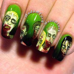 walking dead halloween by madamluck  #nail #nails #nailart