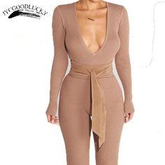 Deep V Rompers Knit Large Size Jumpsuit Romper For Women Long Elastic Sexy Slim Jumpsuits No Waist Belt Elegant Simple Overalls