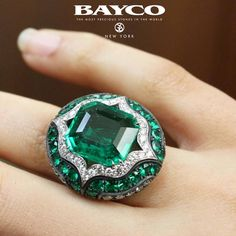 BAYCO JEWELS Emerald and Diamond Ring