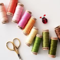 Oh so many yummy colors. Also, re-usable wooden spool 😍 Hand Embroidery Art, Embroidery Scissors, Tailor Scissors, Small Scissors, Felt Sheets, Stationery Craft, Wooden Spools, Wool Felt, Egyptian Cotton