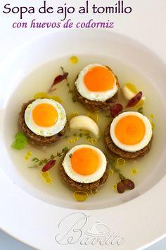 Sopa de ajo al tomillo con huevos de codorniz a la planchaBavette | Bavette
