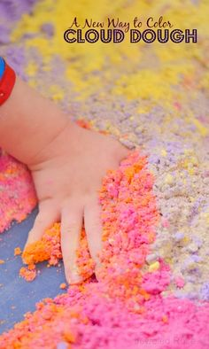 A NEW & EASY way to color cloud dough; no powdered paint or crushed chalk needed!