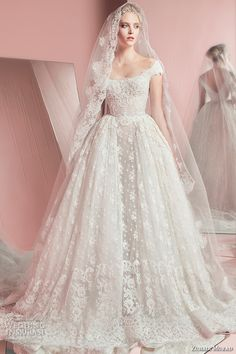 zuhair murad spring summer 2016 bridal scoop neckline cap sleeves lace wedding ball gown dress peggy with veil