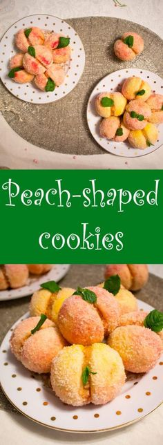 Peach-shaped cookies, with a peach jam and peach liquor cream. - Peach-shaped cookies, with a peach jam and peach liquor cream. Sicilian Recipes, Turkish Recipes, Greek Recipes, Bar Recipes, Peach Cookies, Jam Cookies, Romanian Food, Romanian Recipes, Peach Jam