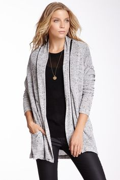 Faux Leather Trim Cardigan on HauteLook