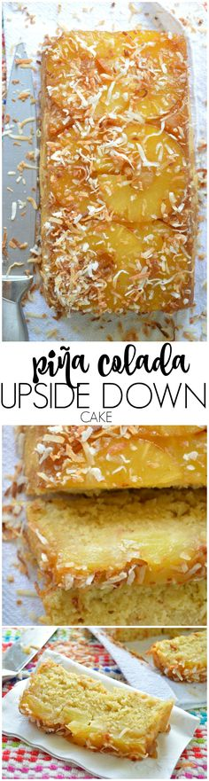 This Pina Colada Upside Down Cake Recipe is loaded with all the flavors of your favorite fruity cocktail! Pineapple, coconut, and of course there's RUM