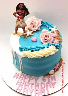 50 Most Beautiful looking Moana Cake Design that you can make or get it made on the coming birthday. Luau Birthday Cakes, Second Birthday Cakes, Moana Birthday, Cake Designs Images, Cool Cake Designs, Moana Cake Design, Diy Unicorn Cake, Bolo Moana, Cake Decorating Frosting