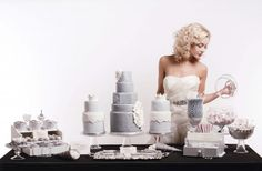 All grey and white chic dessert table