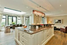 kitchen island with chandelier