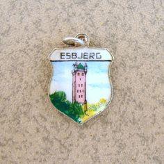 Vintage English Silver Esbjerg Denmark Travel Shield Bracelet Charm Enamel #Charms - eBay $19.90