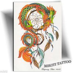►GRAND TATOUAGE TEMPORAIRE ATTRAPE RÊVE DRAGON (tattoo éphémère femme stickers)◄