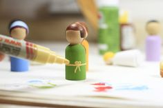 Nativity Peg Dolls :: How to Make Wooden Peg People via lilblueboo.com