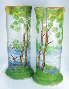 Antique Art Nouveau Legras French Mottled Cameo Glass and Enameled Landscape Lake Vases, Circa 1900-1910 in St. Denis, France