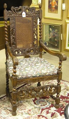 C Colonial Revival Arm Chair Oak Oval Metal Label Karpen Furniture Chicago