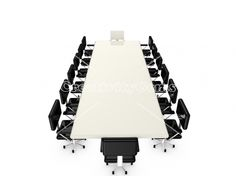 Long conference table with leader