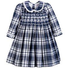 Kidiwi - Blue Cotton Hand-Smocked Dress | Childrensalon