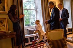 A Kensington Palace Spokesman said: 'Prince George stayed up to meet The President and Fir...