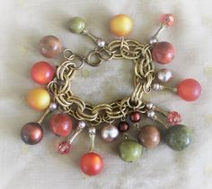 Vintage Beaded Link Bracelet Autumn Fall Colors In Gold Tone Mid Century Mod