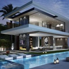 A modern house exterior design can come in so many choices. There are two main types of design: styles that include minimalistic building styles that add color and style to the exterior. Luxury Homes Dream Houses, Dream Homes, Dream Mansion, Modern Mansion, Modern Houses, Dream House Exterior, Modern House Design, Home Fashion, Fashion Tag