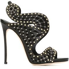 Dsquared2 Alexandra Studded Sandals ($1,405) ❤ liked on Polyvore featuring shoes, sandals, black, heels, black slingback sandals, black strap sandals, leather strappy sandals, ankle strap shoes and leather strap sandals