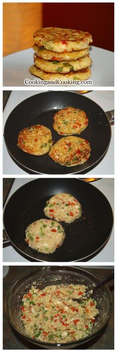 Couscous Feta Cakes Recipe - couscous, water, bell peppers, garlic, onion, wheat flour, feta, oil, s&p.