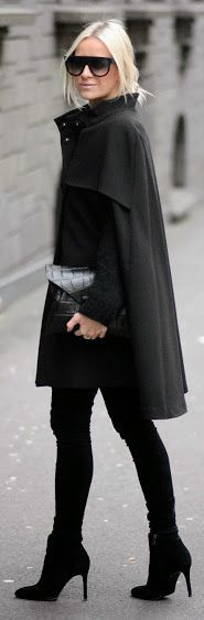 Black | Wool Cape Coat.