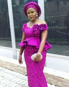 Lovely Lace Blouse & Wrapper Styles 2019 By Diyanu Nigerian Lace Dress, Nigerian Lace Styles, African Lace Styles, Aso Ebi Lace Styles, African Traditional Dresses, Latest African Fashion Dresses, African Dresses For Women, African Print Fashion, African Print Dresses