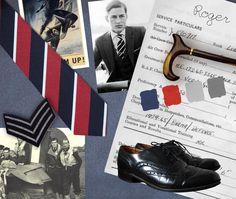 Mood board for RAF fly-boy and war hero Roger Clarke
