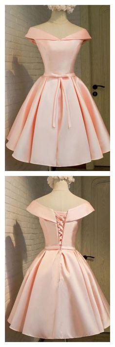 2017 pink off shoulder homecoming dresses, knot short prom dresses,#promdresses #SIMIBridal