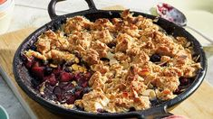 For a yummy comfort food classic grilled on a skillet try our One-Skillet BBQ Apple & Blueberry Streusel Cobbler recipe. This easy summer BBQ dessert is made on the grill. The easy crumble topping is made with cutting the butter into the cookie mix. Try it today.