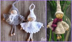 Crochet Bead Angel Ornament Free Pattern could be red/green elves, leprachauns, etc Crochet Ornament Patterns, Crochet Ornaments, Crochet Motif, Free Crochet, Crochet Patterns, Bead Crochet, Crochet Fairy, Crochet Santa, Crochet Angels