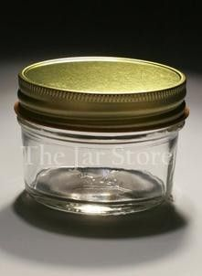 4oz jar that could be etched, have vinyl on side or top or a special label - cost $0.59 per jar.