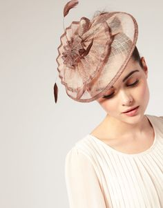 ASOS Origami Pleat Detail Sinamay Fascinator with Soft Feather Detail