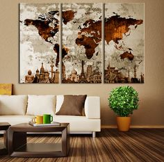 Watercolor+World+Map+Canvas+Print+Large+World+by+ExtraLargeWallArt