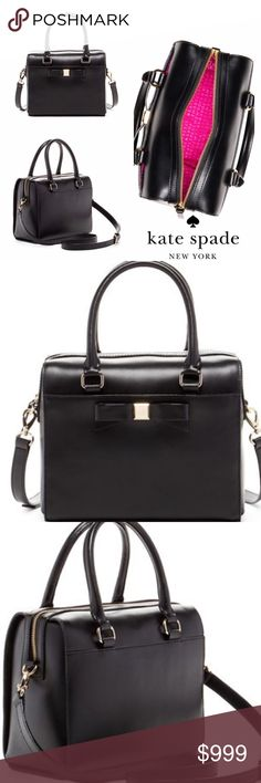 "COMING SOON! Kate Spade Ashton Leather Satchel Kate Spade Montford Park - Ashton Leather Satchel, Black. New with Tags!                      Dual top handles - Detachable adjustable shoulder strap - Top zip closure - Exterior features slip pocket - Interior features zip pocket and double slip pockets - Approx. 8.5"" H x 10"" W x 5"" D - Approx. 9"" handle drop - Imported Materials: Leather exterior, fabric lining kate spade Bags Satchels"