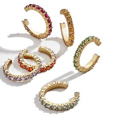 Colorful Set of 6 Small Ear Cuffs