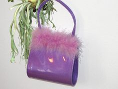 hologram mini purse with feather trim by YARD666SALE on Etsy, $29.00