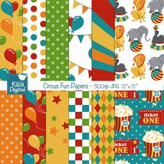 Circus Papers - cute papers for scrapbooking, crafts and more.  Pairs with Circus Clipart.