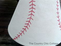 Pottery Barn Knock Off -- Baseball Lamp and Shade Tutorial ~ * THE COUNTRY CHIC COTTAGE (DIY, Home Decor, Crafts, Farmhouse)