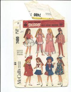 Vtg 1960s Skipper Pepper Doll Clothes Pattern ~ Dress Pants Hat Casual Wear
