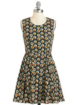 That's a Hoot! Dress. The comedy club's lighthearted atmosphere is reflected in the quirky owls on your A-line dress. #gold #prom #modcloth
