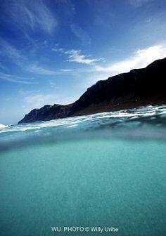 Risco de Famara in blue. Lanzarote. Canary Islands.