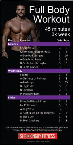 This is a balanced, 3 day a week full body workout routine. Each session is about 45 minutes. Its a beginner to intermediate level workout that assumes you know the basics of dumbbell and barbell strength training. - Workout at Home Wöchentliches Training, Fitness Studio Training, Weight Training Workouts, Training Programs, Full Body Training, Training Exercises, Workout Exercises, Workout Plan For Men, Gym Workout Tips