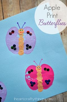 Apple Print Butterfly Spring Kids Craft from iheartcraftythings.com